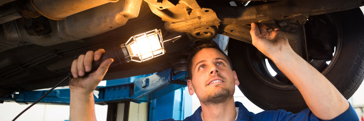 Technician performing MOT Keyworth, Nottingham